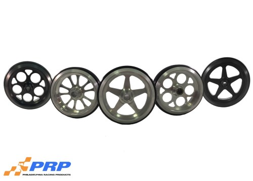Black & Clear Billet Wheelie Bar Wheels made by PRP Racing Products