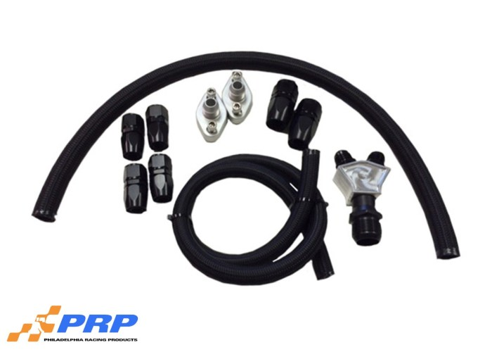Black and silver Remote Plumbing Kit displayed made by PRP Racing Products