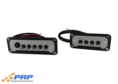 Front view of switch panels, black and clear anodized by PRP