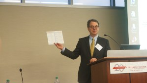 Philip Tegeler, Executive Director of PRRAC, gives welcoming remarks at the conference and goes over the schedule.