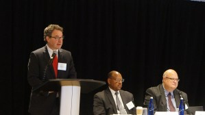 Philip Tegeler (PRRAC) introduces first panel (Forming Regional Partnerships to Promote Mobility) of the day. From left to right: Andrew Lofton (Seattle Housing Authority) and Ken Barbeau (Milwaukee Housing Authority).