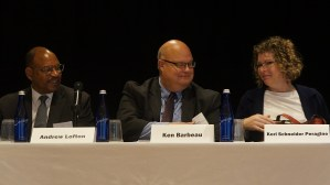Panel: Forming Regional Partnerships to Promote Mobility. From left to right: Andrew Lofton (Seattle Housing Authority), Ken Barbeau (Milwaukee Housing Authority), and Kori Schneider Peragine (Milwaukee Fair Housing Council).