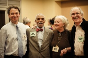 """Former PRRAC Executive Director Chester Hartman's retirement party: PRRAC board members (from left to right) Philip Tegeler, John Brittain, Elizabeth """"Betsy"""" Julian, and John Charles Boger."""