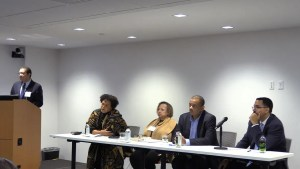 Fair Housing Intersections Panel Discussion (from left to right): PRRAC Board Members Dennis Parker and Demetria McCain, as well as co-founder of WE ACT for Environmental Justice Vernice Miller Travis, former Secretary of Transportation Anthony Foxx, and former Secretary of Education John King.