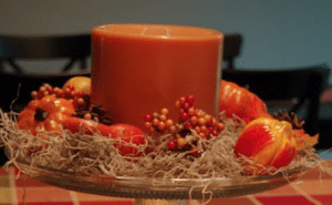 candle moss fall centerpiece