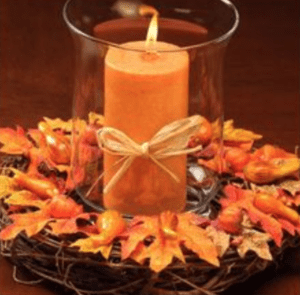 maple candle centerpiece