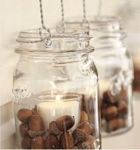 mason candle acorn jar