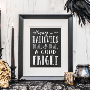 black and white halloween print