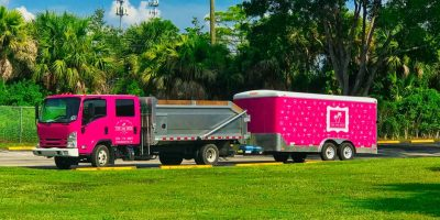 pink and green lawn care landscape