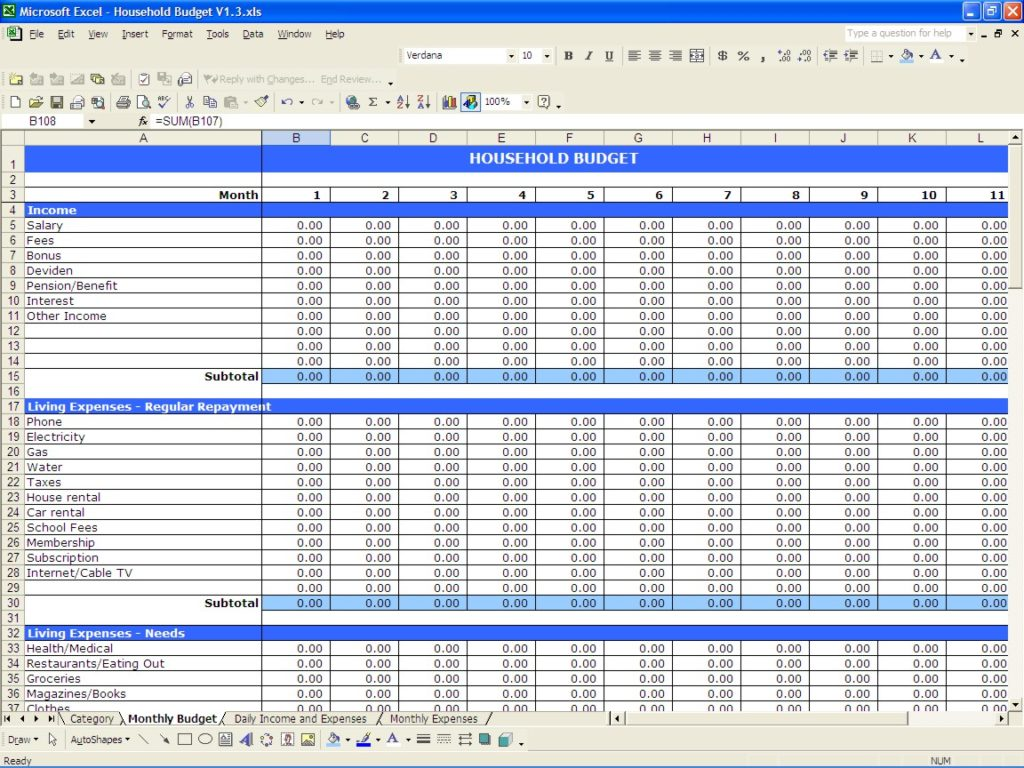 business budget template excel sample 4
