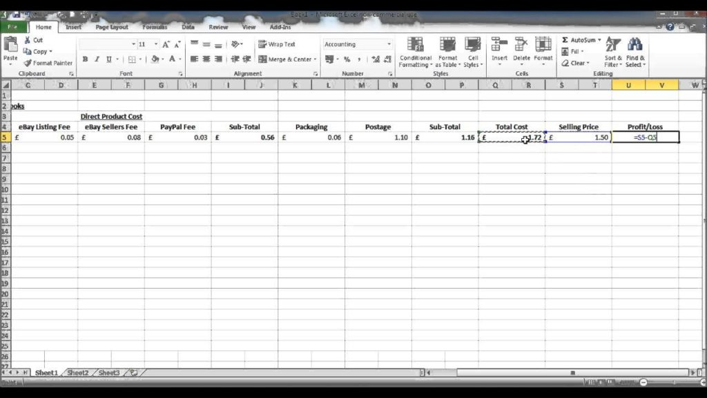cost sheet in excel formula sample