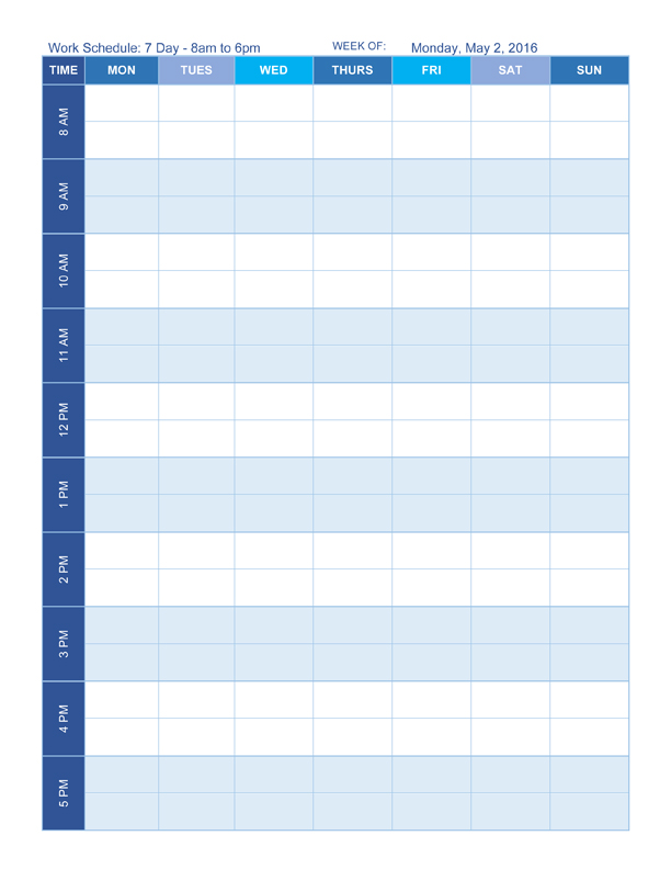 daily planner template word sample