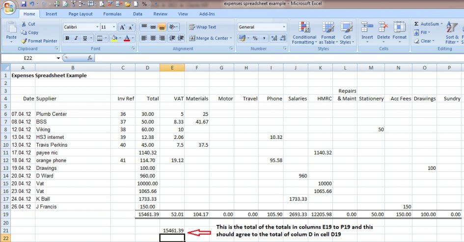 excel accounting formula sample