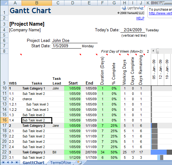 excel gantt chart template sample