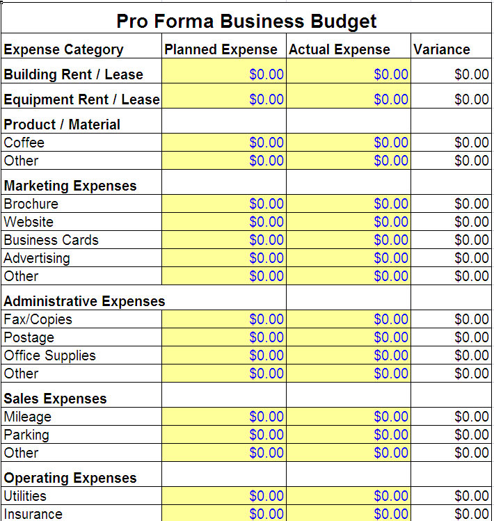 excel spreadsheet for business expenses sample 1