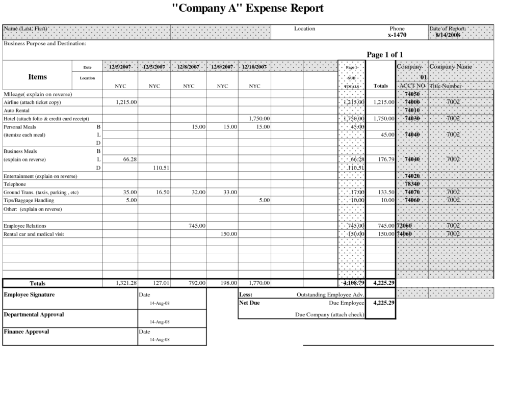 excel spreadsheet for business expenses sample 2