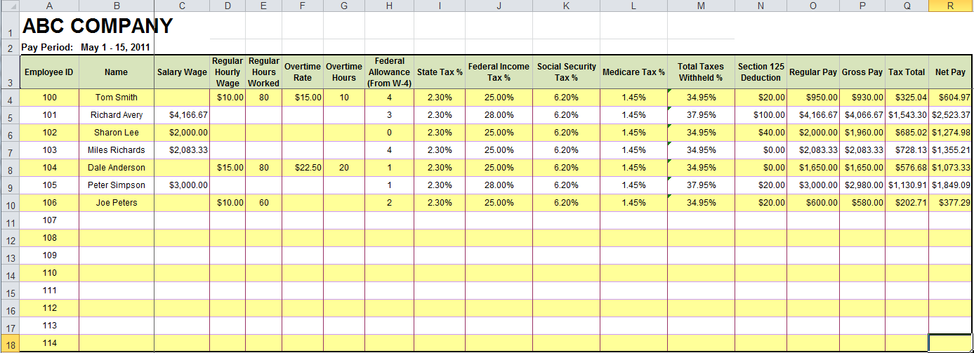 how to create payroll in excel sample