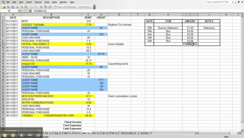 how to keep accounts in excel sample 3