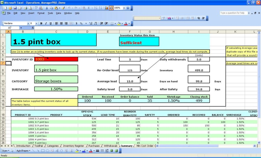 how to maintain store inventory in excel sample