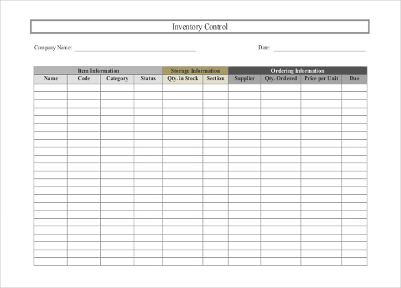 inventory control template with count sheet sample 1