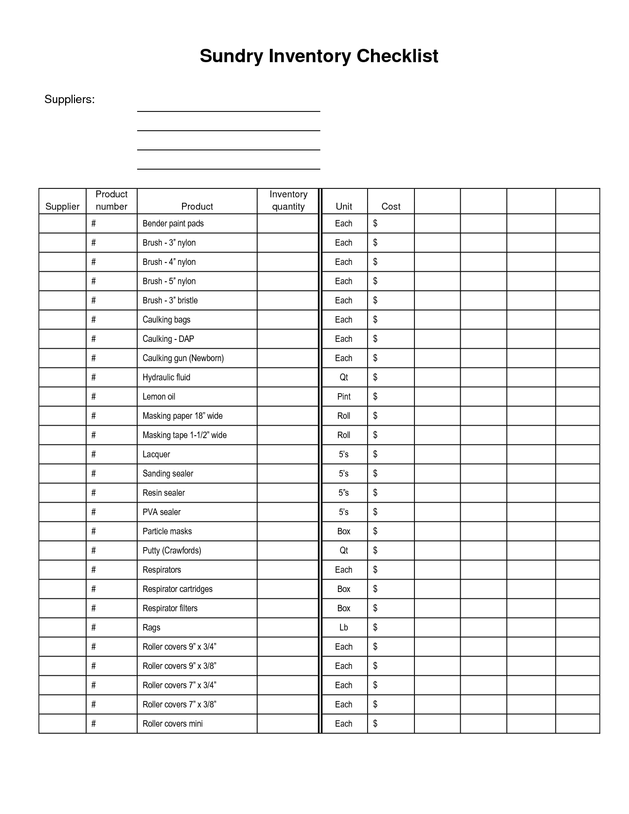 medical supply inventory list template