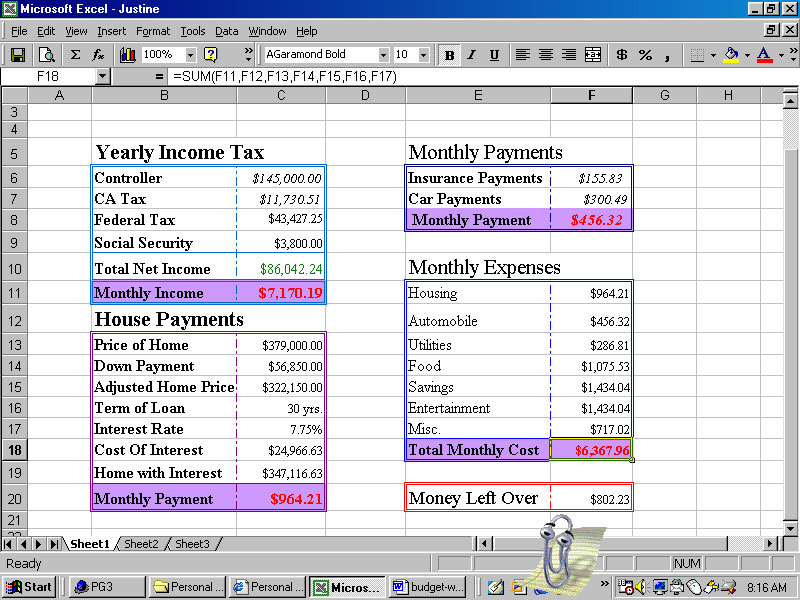 personal budget worksheet sample