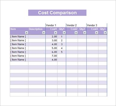 product cost sheet in excel sample