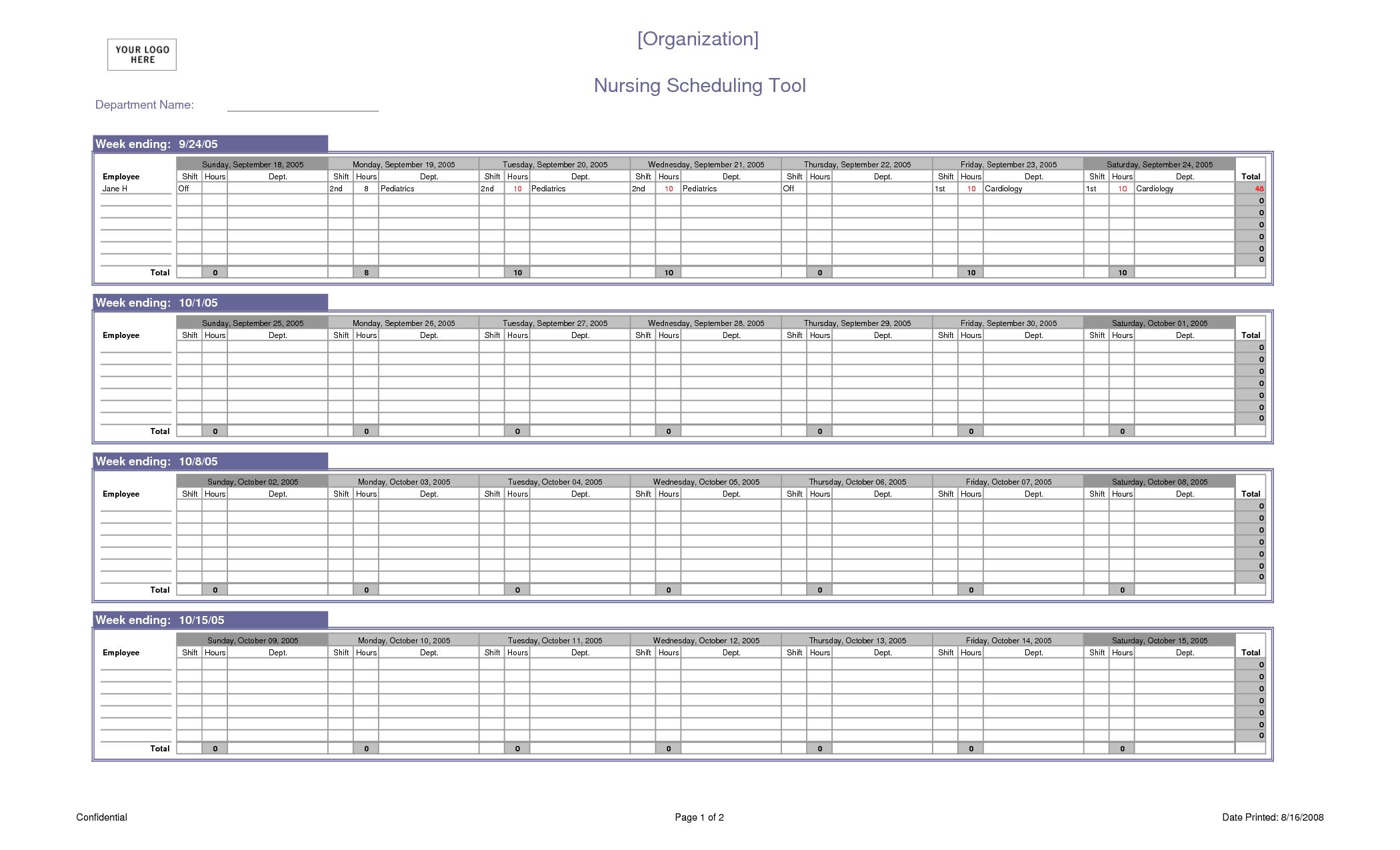 schedule spreadsheet template excel sample