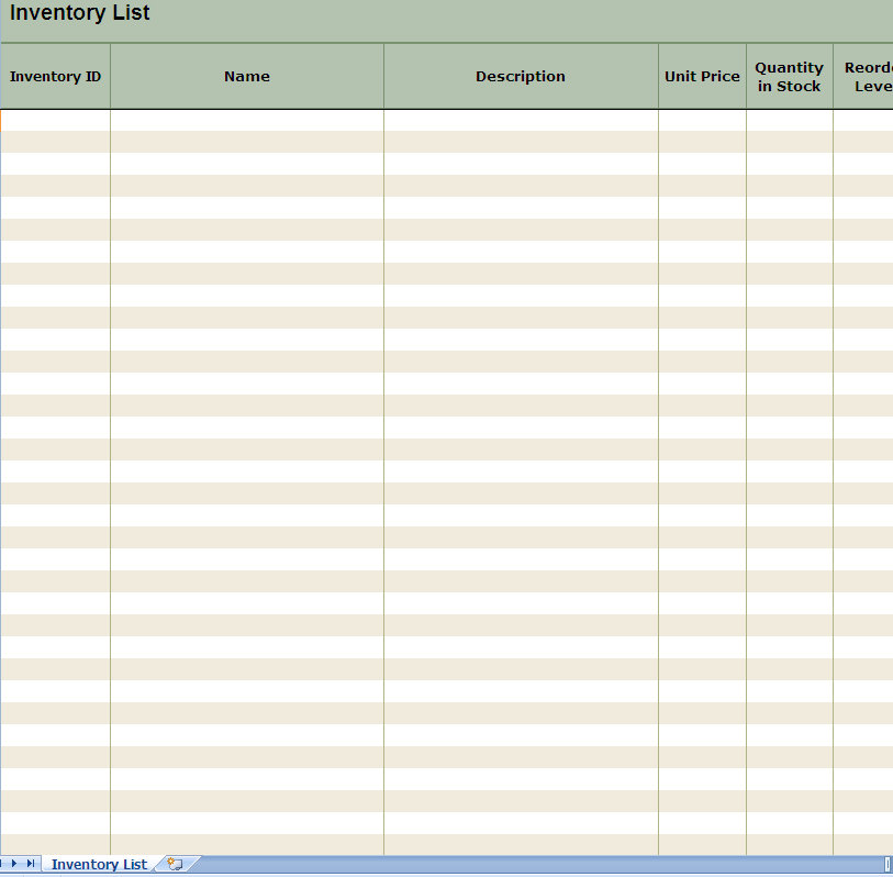 blank spreadsheet to print sample 2