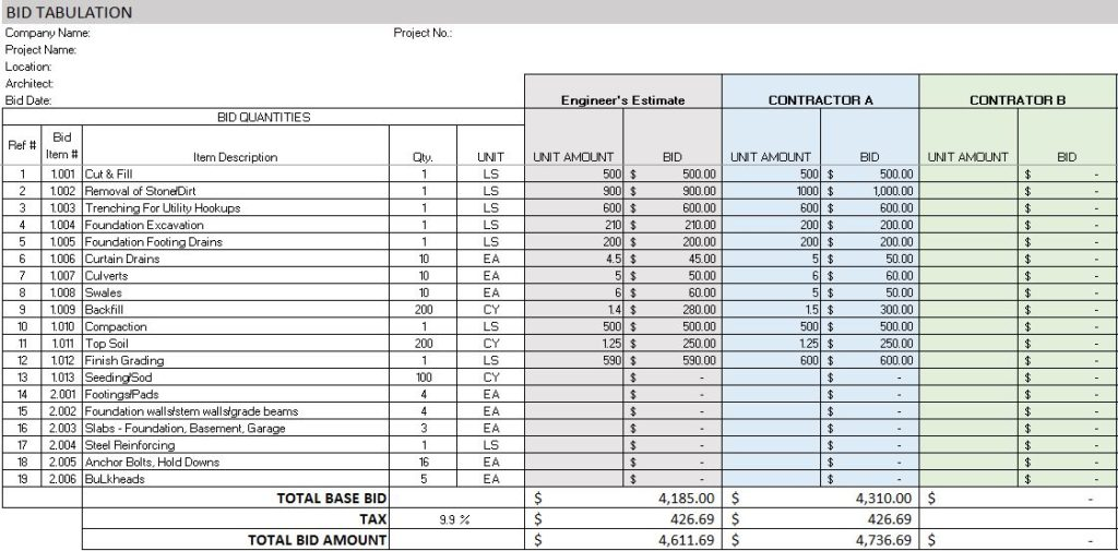 detailed estimate of a building using ms excel sample