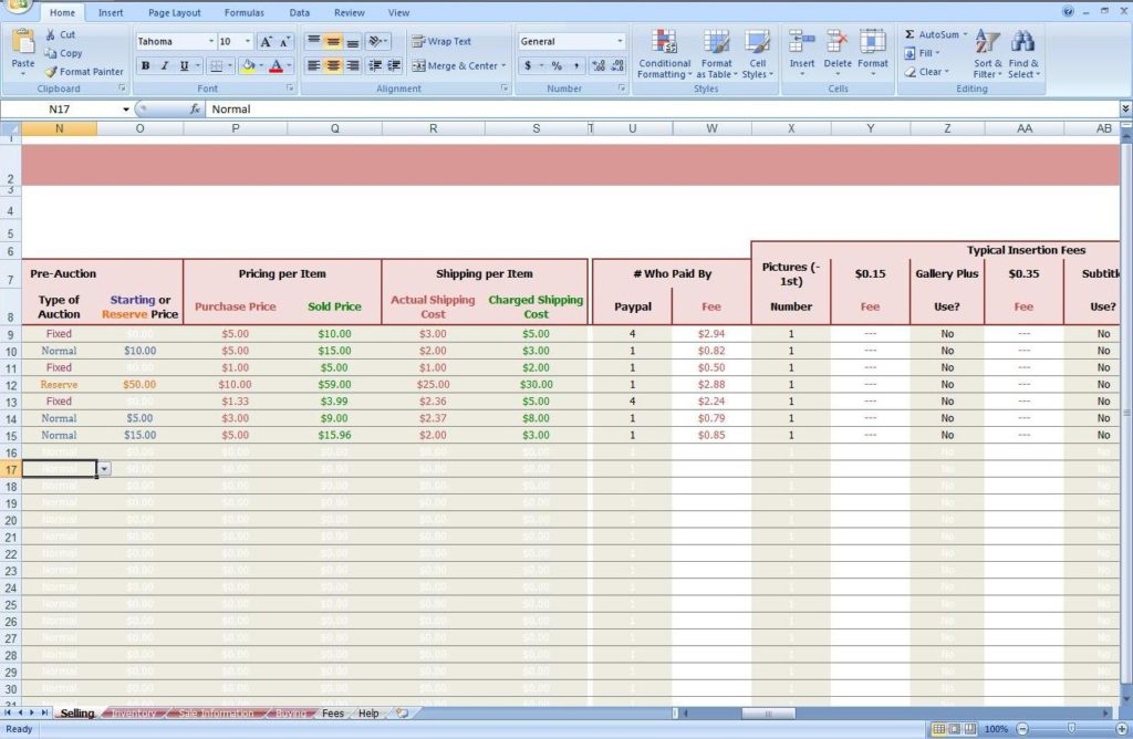 ebay excel templates download sample