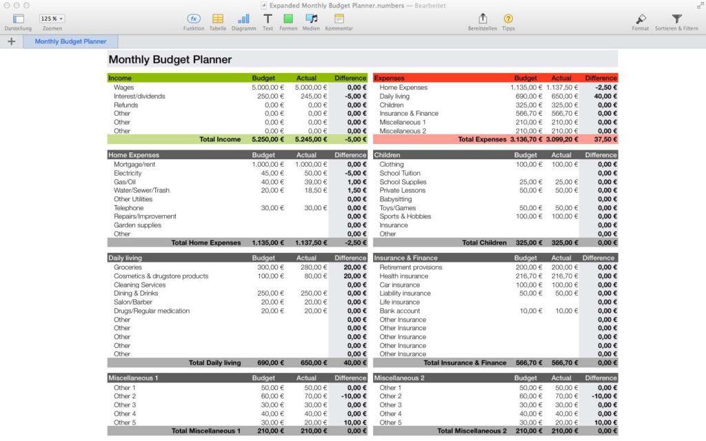 excel budget planner sample
