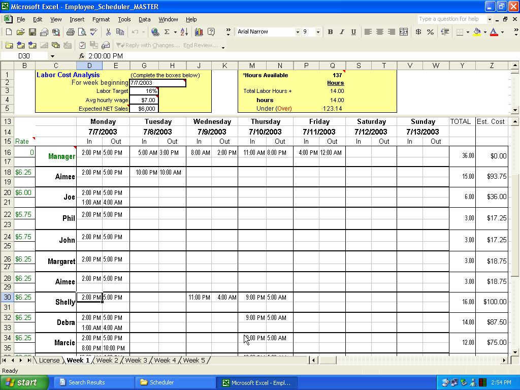 excel employee schedule template 2