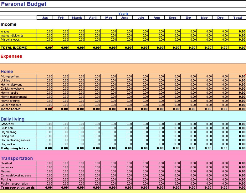 excel monthly budget template 3