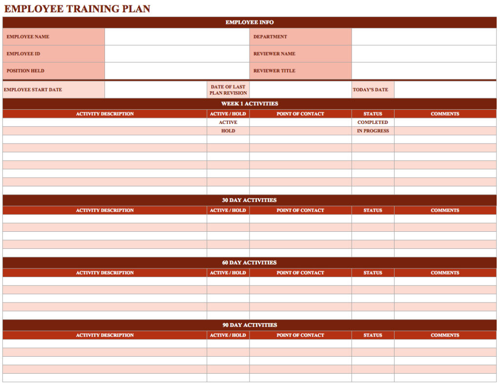 excel spreadsheet to track employee training sample