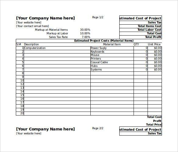 free building estimate format in excel sample 1