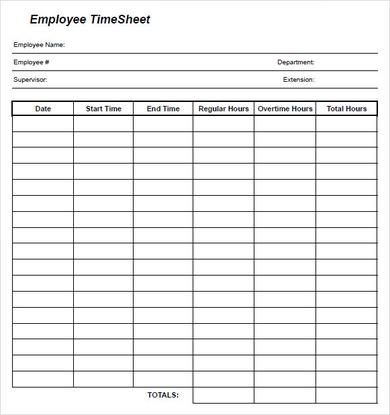 free printable monthly timesheets template