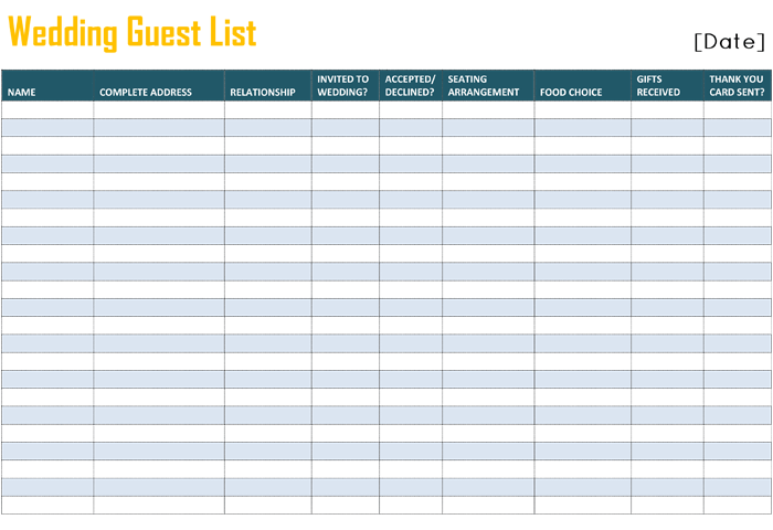 free wedding guest list template
