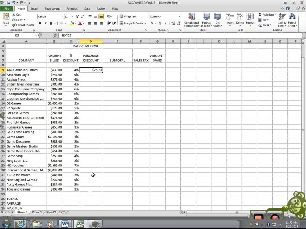how to keep accounts in excel sample 1