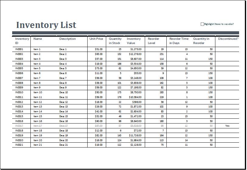 inventory excel formulas sample