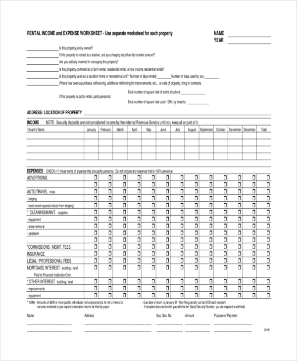 investment property spreadsheet template