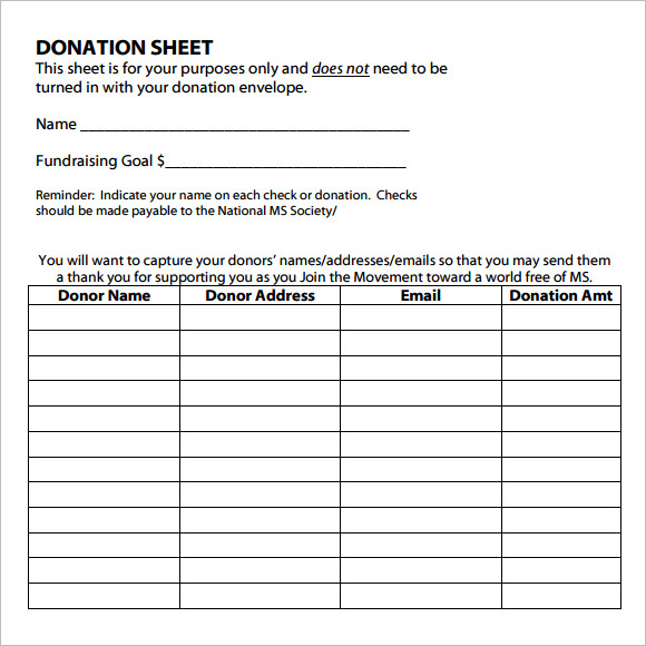 itemized donation list printable sample
