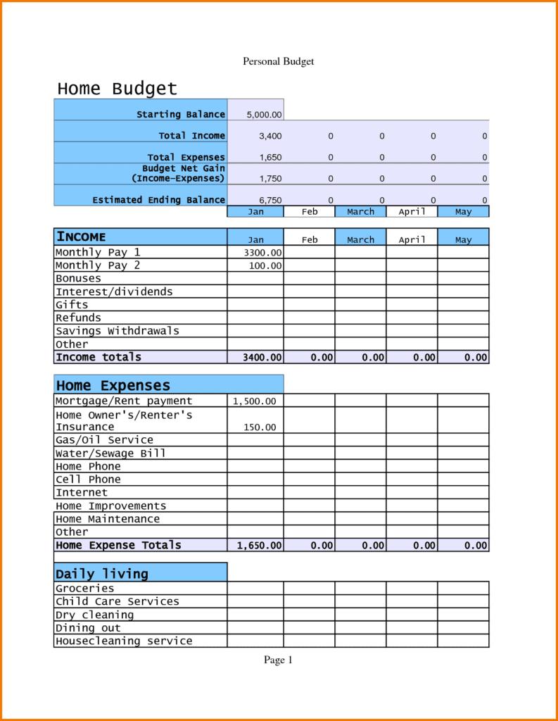 personal budget worksheet sample 1