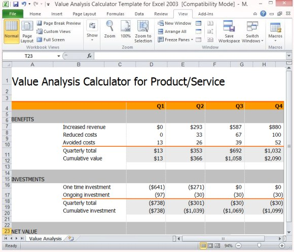 product cost analysis template excel sample