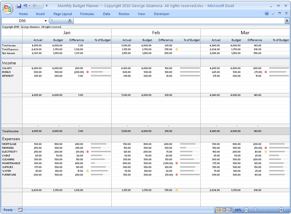 project budget template 3