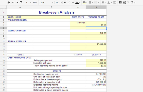 project cost analysis template sample