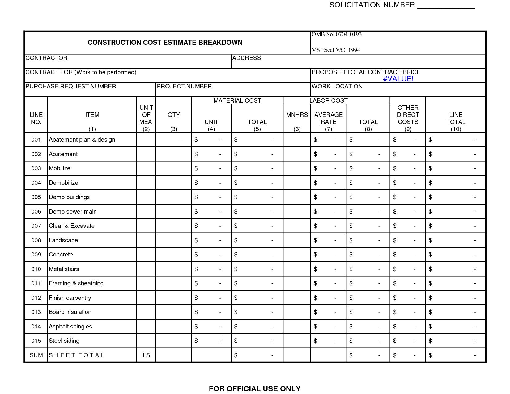 remodeling cost estimator excel sample