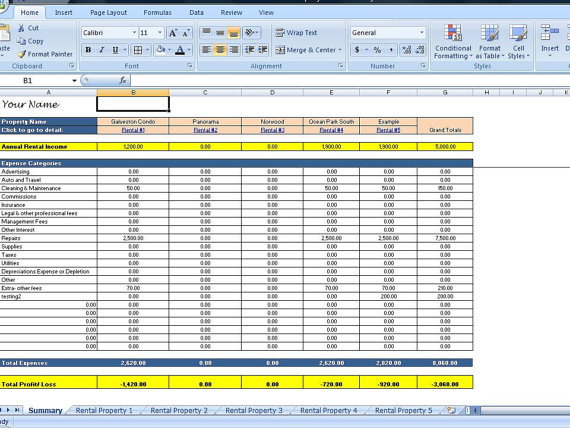 rental property excel spreadsheet free sample