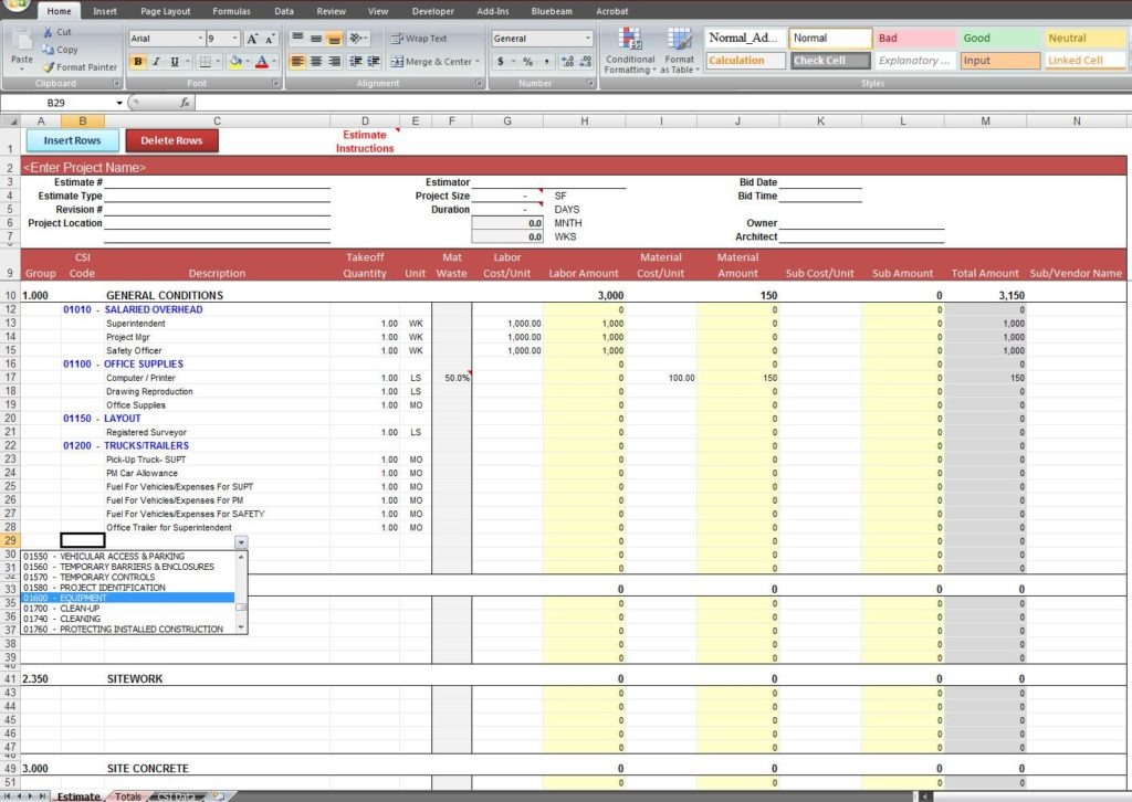 residential construction cost estimator excel sample