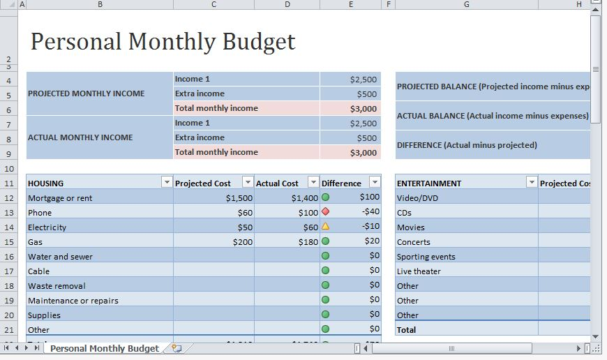 simple personal budget template excel sample 1